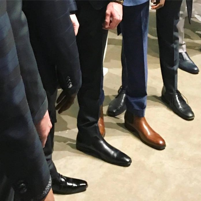 men showing off different formal shoes